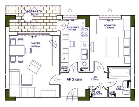 Apartament 2 camere apartamentare